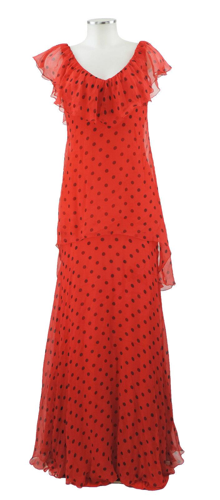 Ann Marks Paris Ballkleid rot schwarz 36 38 Seide Abendkleid Kleid evening dress