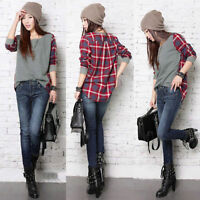 Women Ladies Plaid Checked Long Sleeve Casual Loose T shirt Tops Blouse Grey&Red