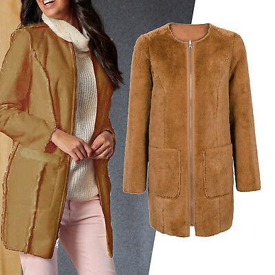 Damen Rainbow Winter warme Mantel Fellimitat Jacke Coat Hellbraun 942356