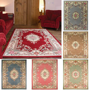 Flair Rugs Aubusson Lotus Premium Wool Rugs Traditional Hand Carved