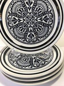 Vtg-NORITAKE-Primastone-MALAGA-Stoneware-Black-and-White-Set-of-4-Dinner-Plates