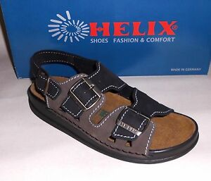 Helix sandali nero grafite cuoio Nubuck RILIEVI tallone aktivkohlevlies NUOVO