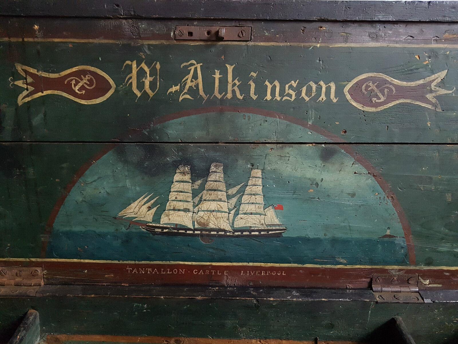 VICTORIAN SEAMAN\'S CHEST TANTALLON CASTLE LIVERPOOL CIRCA 1865 - W ...