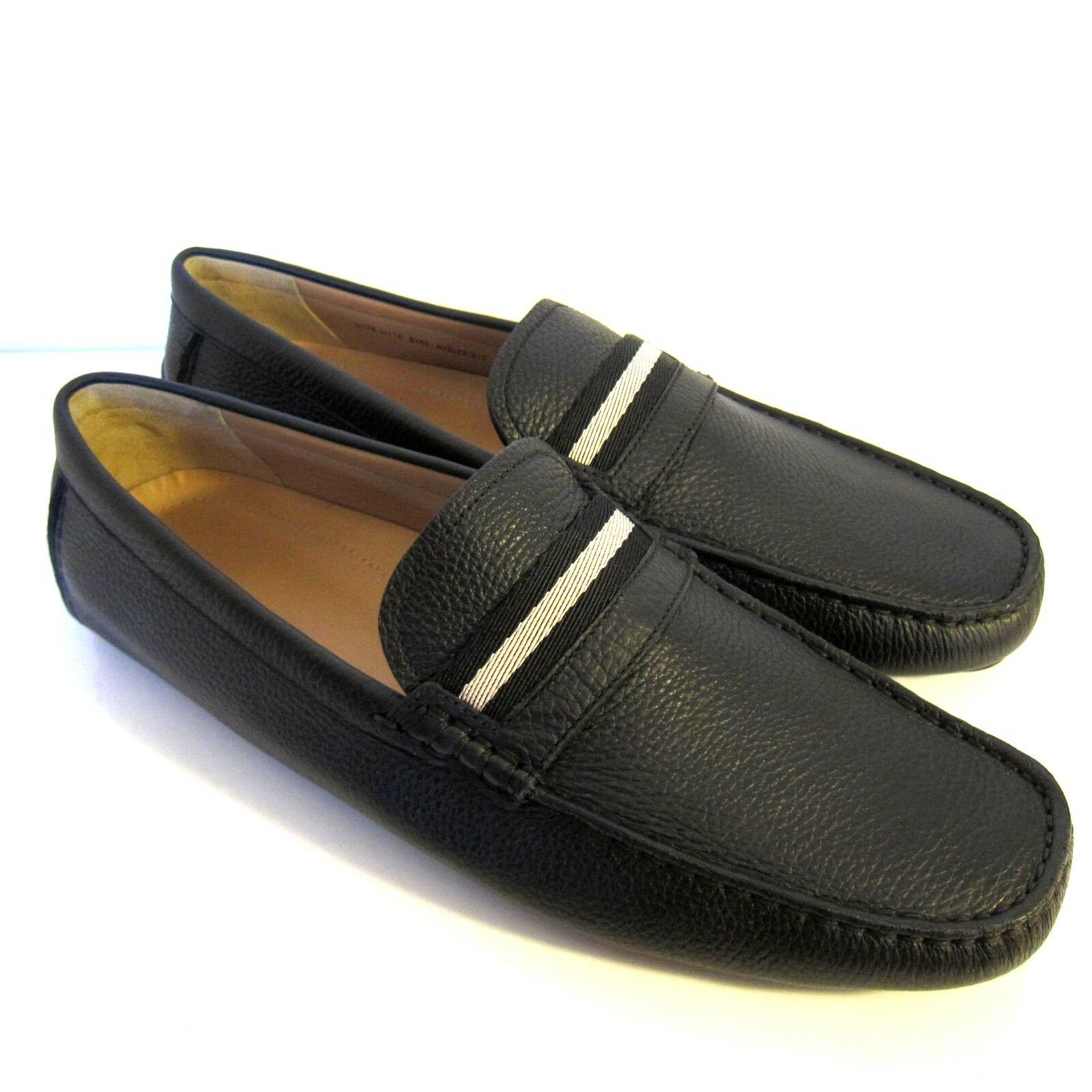 C-1604100 New Bally Wabler Black Calf Grained Moccasins Shoes Size US 11 D