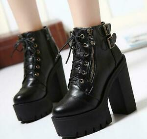 Women-Lady-Hot-Gothic-Lace-Up-Punk-Platform-Chunky-High-Heel-Ankle-Boots-Shoes