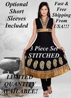 Black & Gold 3 Piece Stitched Anarkali Indian Bollywood Salwar Kameez Cottonsuit