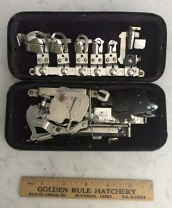 Vintage-Rotary-Greist-Sewing-Machine-Attachments-With-Metal-Box-FREE-SHIPPING
