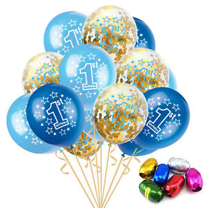 Image Is Loading 1st Birthday Blue Confetti Filled Balloons Gold 1