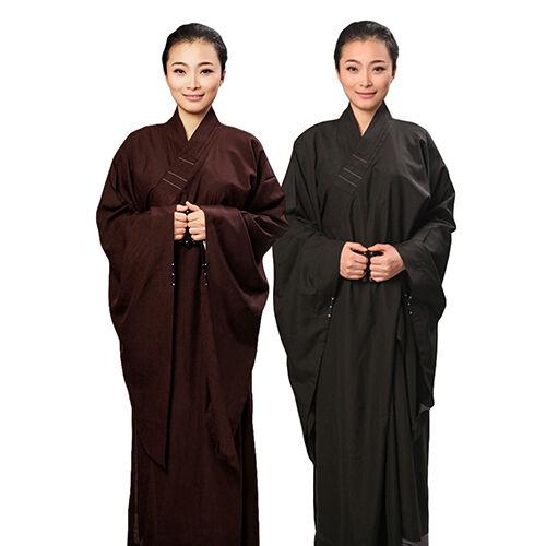 Unisex Zen Buddhist Meditation Lay Robe Monk Long Gown Shaolin Monk Robe Uniform
