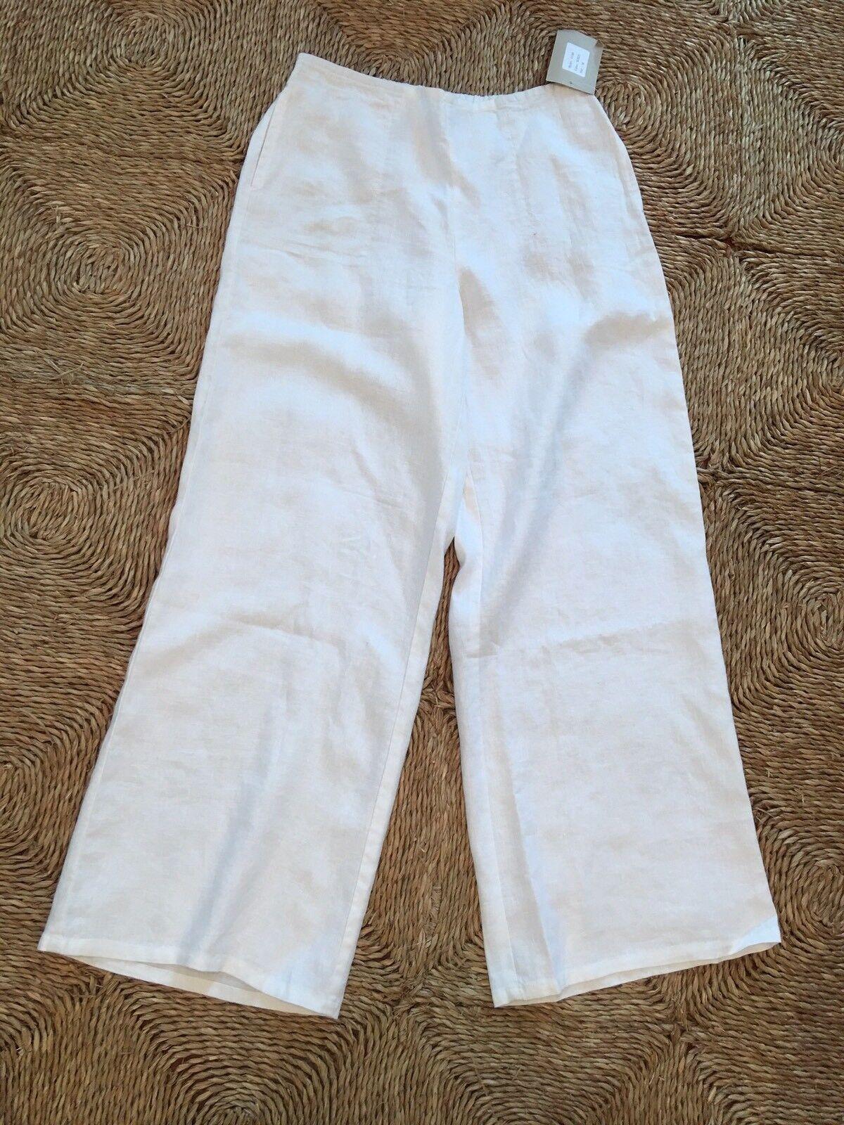 Habitat White Linen Pants .Size M.NWT.