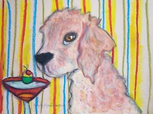 ACEO-LABRADOODLE-Drinking-a-Martini-Dog-Collectible-Signed-Art-Card-Print-KSAMS