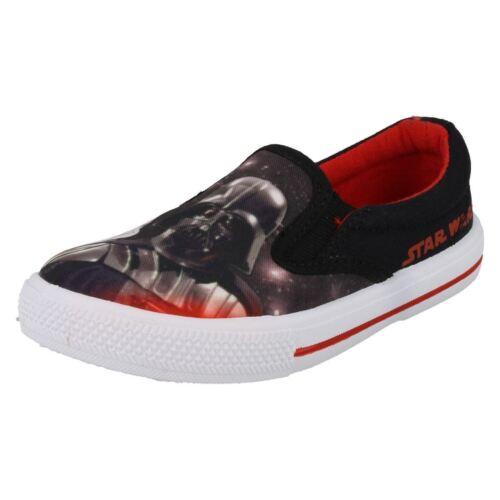 Starwars Darth Vader Boys Slip On Canvas Pump Shoes By Disney Black red Fairview
