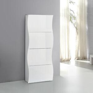 Scarpiera mare onda moderna 4 ante ribalta bianco laccato - Scarpiera moderna design ...