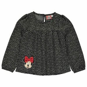 DISNEY-blouse-top-t-shirt-MINNIE-2-3-4-5-5-6-ou-7-8-ans-noir-pois-blanc-NEUF