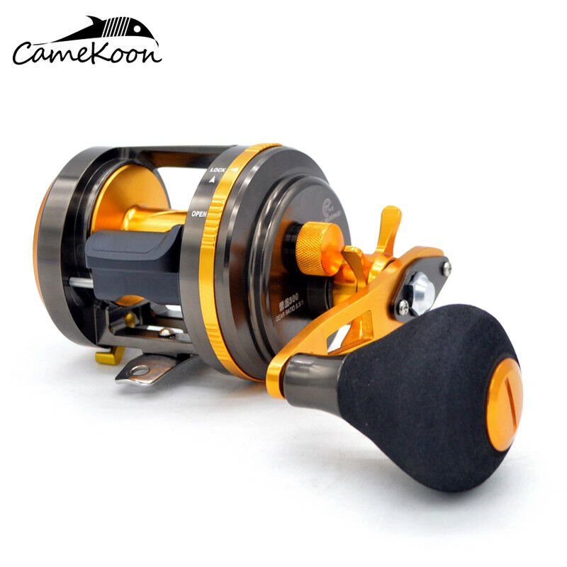 CAMEKOON Metal Round Baitcasting Fishing Reel 5.1 1 Gear Ratio With Crank Handle
