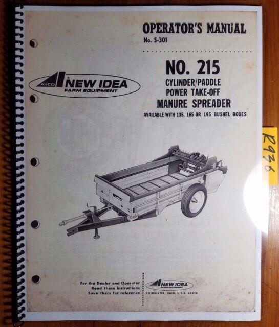 idea 215 pto manure spreader operator s manual ebay