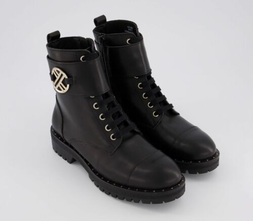 Womens Office Ambiguous Lace Up Boots Black Leather With Gold Hardwear Boots