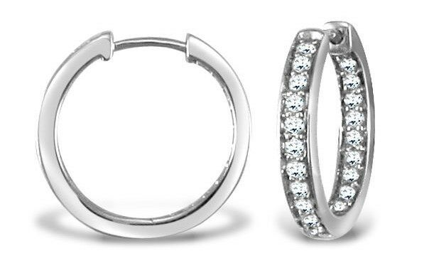 079c85a18f5a3d 9ct White Gold Diamond Pave Hoop Earrings. for sale online | eBay