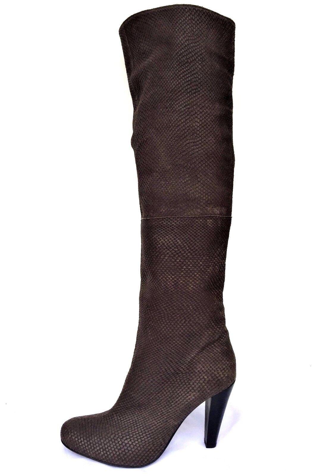 economico e di alta qualità PROF Snake Skin Leather Heel Over The Knee stivali stivali stivali Made In Portugal Sz 39  US 9M  scegli il tuo preferito