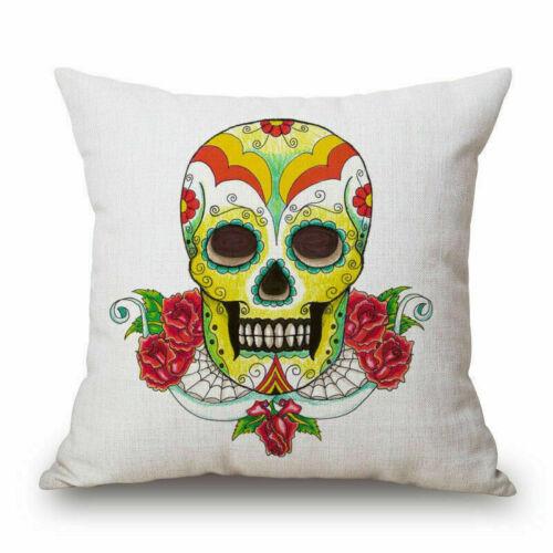 Mexican Indiana Sugar Skull Art Throw Pillow Case Cushion Cover Decorative