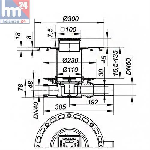 Dallmer Dünnbett-Bodenablauf Set 42 VE Ablauf seitlich DN 50 100 x 100 mm 513151