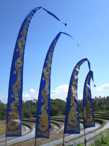 ohne Stange diverse Farben Balifahne Deko Bali-Fahne 3 m mit DRACHENDRUCK