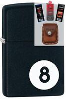 Zippo 28432 8 Ball Billiards Lighter + Fuel Flint Wick Pouch Gift Set