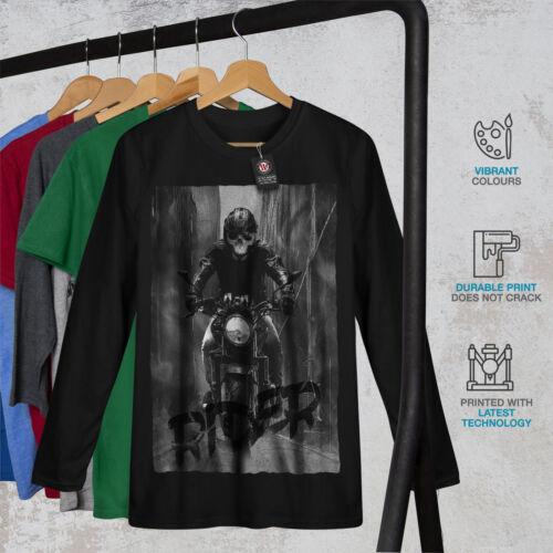 Death Graphic Design Wellcoda Grim Reaper Biker Mens Long Sleeve T-shirt