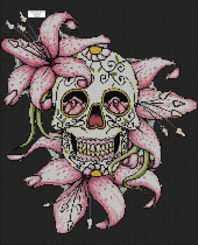Cross Stitch Chart sugar skull // day of the dead no 364 .TSG37 8c- No