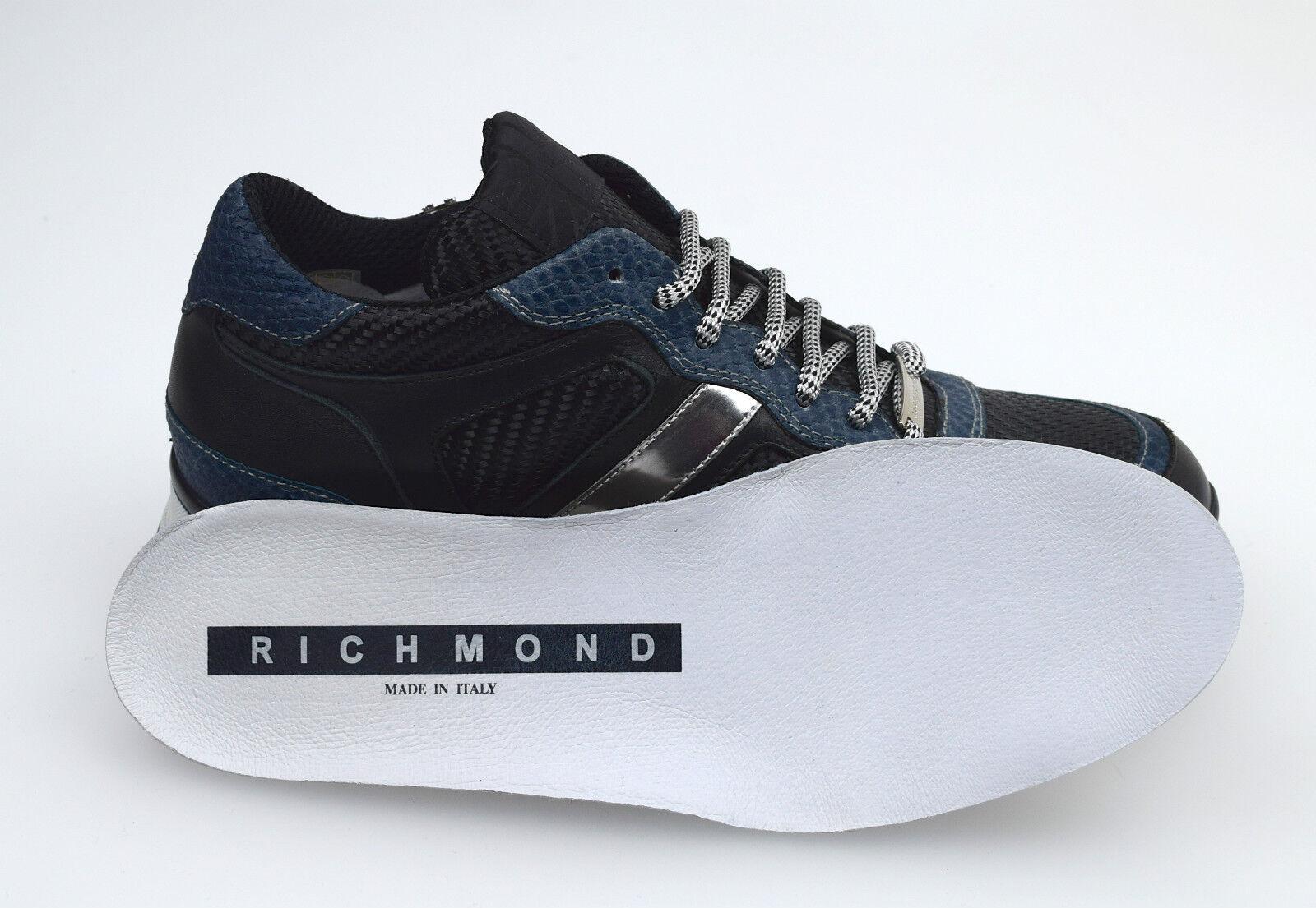 RICHMOND SCARPA SNEAKER - UOMO - SNEAKER MAN SHOES NERO+BLU / BLACK+BLUE 5226 NO SCATOLA 7c8288