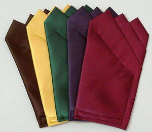 Deep-Color-Satin-POCKET-SQUARES-Square-folded-sewn