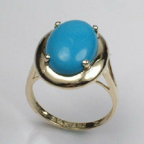 14k Solid Yellow gold Oval Cut Reconstituted Turquoise Ring Siz. 4 to 9.5  R235