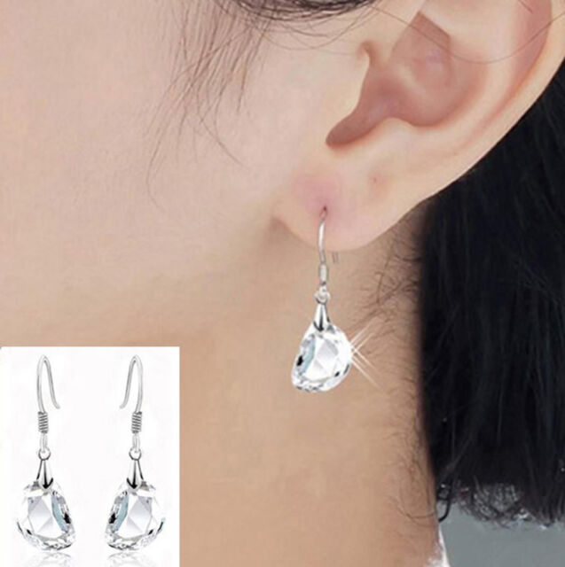 18K White Gold Plated Long Austrian Crystal Drop Dangle Earrings  Ladies Gift