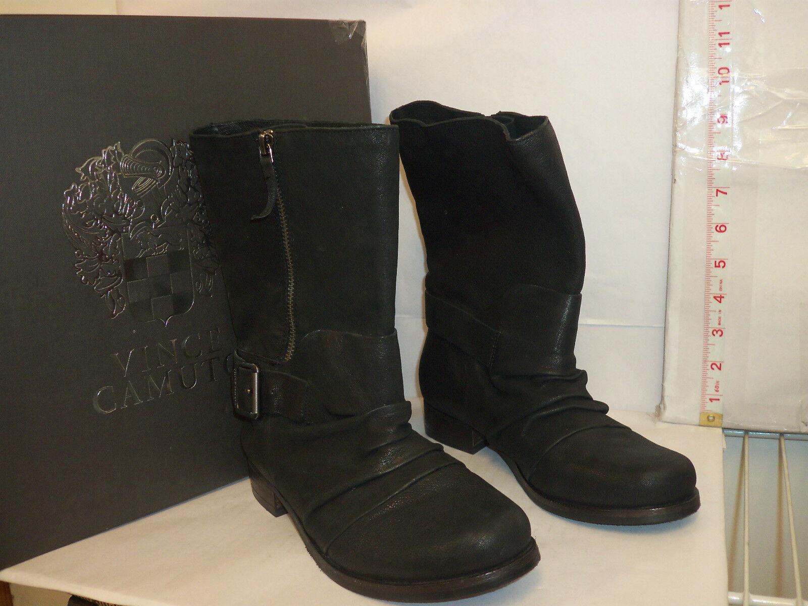 Vince Camuto nuevo para mujer Shada Negro Zapatos botas de cabra de seda de 6 M