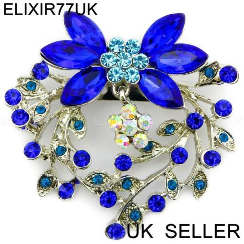 NEW LARGE SILVER BROOCH PINS ROYAL BLUE DIAMANTE CRYSTAL BOUQUET JOB LOT FLOWER