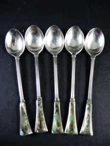 5 Vintage Sterling Silver Paua Shell teaspoons Sheffield 1966