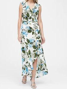 NWT-Banana-Republic-New-159-Women-Floral-Ruffle-Wrap-Maxi-Dress-Size-0-2-4-6