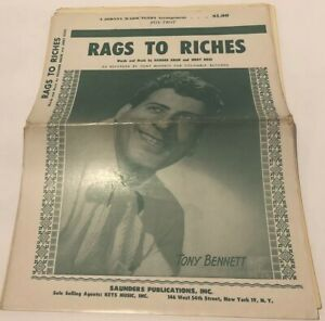 Details about Rags to Riches Sung by Tony Bennett 1953 Sheet Music Columbia  Records