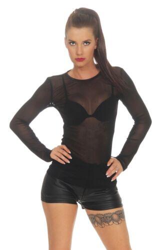 Damen Party Shirt transparent Netz Top durchsichitiges Oberteil 36 38 schwarz