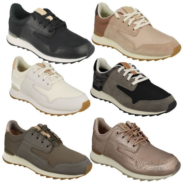 9308fc688d86c FLOURA MIX LADIES CLARKS LACE UP LEATHER CASUAL GYM SHOES OUTDOOR TRAINERS