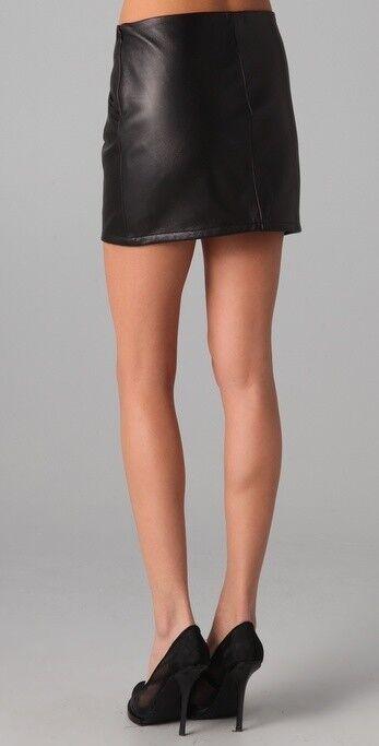 Women High Waist Genuine Lambskin Leather Mini Skirt Short Sexy Club - LTWS008