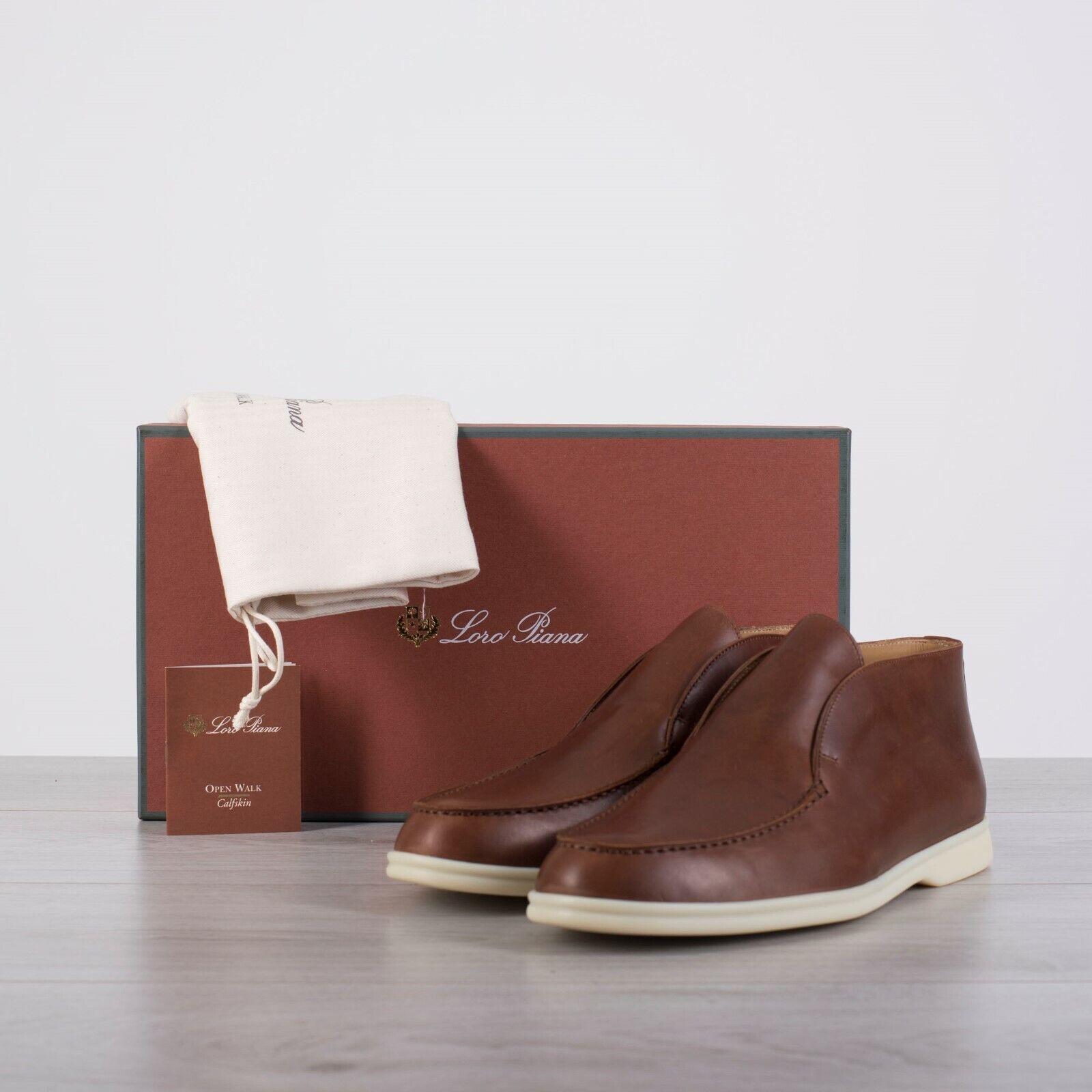 Loro PIANA 1125  Abierta Caminar botas al tobillo en cuero de piel de becerro Cognac Marrón Teñido