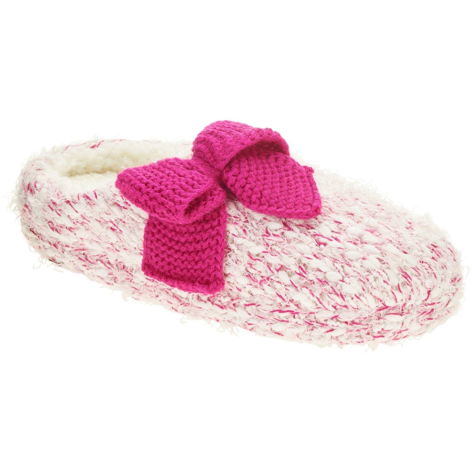 Walmart Brand Women's Pop Knit Clog Slippers Fuchsia W Bow Size Medium 7-8 NEW