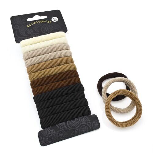 Set of 12 Medium Sized Hair Donuts Ponios Bobbles Elastics Bands Accessories