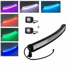 300w 52inch Curved offroad Led light bar with RGB halo ring+ 2pcs Led pods halo