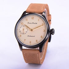 44mm Parnis Hand Winding Mechanical Watch Men Casual Wrist Watch Leather Strap