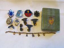 United States Army Cigarette Case Bracelet Pins 305th Intelligence Medical Lot