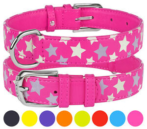 Leather Dog Collar Puppy Small Medium Large Soft Padded Safety Reflective
