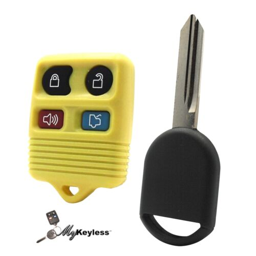 New Yellow Ford Replacement Keyless Entry Remote Fob and Uncut Transponder Key