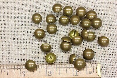 """25 old BRASS TACKS 7//16"""" Diameter vintage upholstery nails domed round heads"""